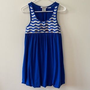 BLUE & SILVER SEQUINED DRESS